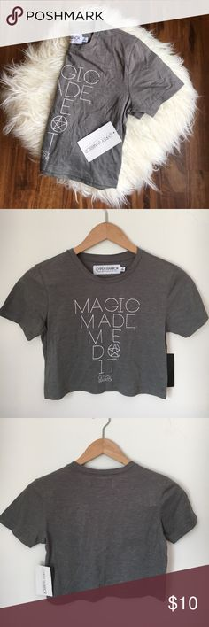 """NWT Gypsy Warrior Crop Top - NWT Gypsy Warrior Crop Top     - Grey Jersey soft material short sleeves crop top. Saying on front says """"magic made me do it"""" perfect for festival season    - Size Small   - New With Tags gypsy warrior Tops Crop Tops"""