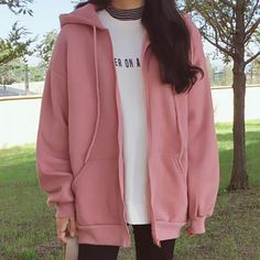 New Fashions Autumn&Winter Women Hoodies Sweatshirts Zipper Long Sleeve Warm Female Thicken Hoodies Drawstring Hoodie Jacket pin - Products blouse summer blouse style blouse ideas Korean Fashion Trends, Korean Street Fashion, Mode Ulzzang, Looks Plus Size, Hoodie Sweatshirts, Sweatshirts Online, Tumblr Outfits, Emo Outfits, Ulzzang Fashion