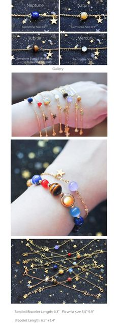 Solar system bracelet, but Pluto is missing so he gets his own little bracelet. Universe Bracelet Handmade Items #braceletsprojects