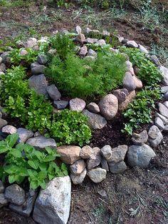 Kräuterspirale. Die Steine erwärmen das Beet und geben mediterranen Pflanzen zusätzliche Wärme. Oben die mediterranen Kräuter ganz unten Minze, Petersilie, Schnittlauch oder Liebstöckel.