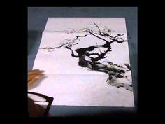 李鴻儒 四君子ー梅 plum blossom sumie - YouTube