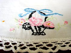 Vintage Embroidered Table Linen, Embroidered Flower Basket Table Scarf with Crochet Lace Edging, Lace Trim Embroidered Doily, Spring Linen