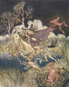 "Arthur Rackham - illustration from ""The Legend of Sleepy Hollow"""
