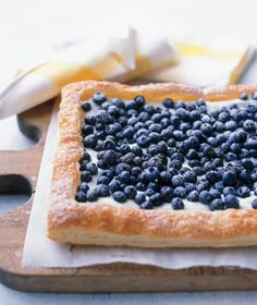 Blueberry tart.  Puff pastry with cream cheese filling and blueberries.