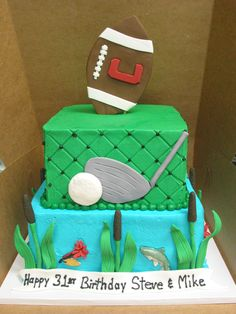 Groom cake sports golf football fishing cattails pond fish lure.