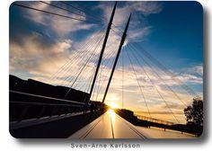 Sunset at Ypsilon Bridge in Drammen