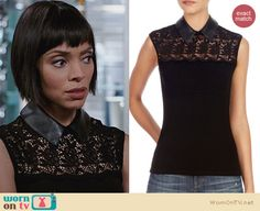 Camille's black lace top with leather collar on Bones. Outfit Details: http://wornontv.net/25732 #Bones #fashion