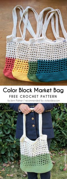 Color Block Market Bag Free Crochet Patterns | Crafts Ideas