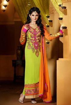 USD 92.58 Kumud Green Flower Patch Work Pakistani Suit 40278