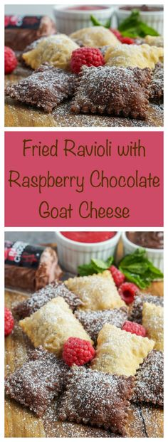 Fried Ravioli with Raspberry Chocolate Goat Cheese #fried #ravioli #pasta #raspberry #chocolate #cheese #goatcheese #dessert