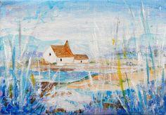 Original Acrylic on Canvas - LANDSCAPE/COTTAGE | eBay