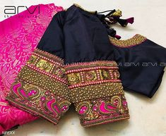 Arvi the couturier. Blouse Back Neck Designs, Hand Work Blouse Design, Simple Blouse Designs, Stylish Blouse Design, Wedding Saree Blouse Designs, Pattu Saree Blouse Designs, Blouse Designs Silk, Designer Blouse Patterns, Wedding Blouses