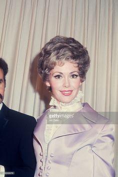 Barbara Rush wearing a lavender satin jacket; circa 1970; New York.