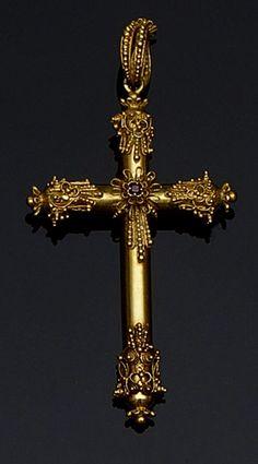 19th Century Gold Cross Pendant