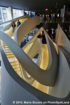 Inside Armani Fifth Avenue there is this awesome sculptural steel staircase designed by Massimiliano & Doriana Fuksas Architects. #NewYork City, USA. PhotoSpot by Mario Bucolo on www.photospotland.com/spots/238 #architecture #photography