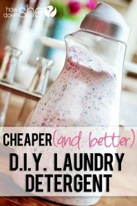 Cheaper (and better) DIY Laundry Detergent - I don't use the fabric softener crystals - just put vinegar in fabric softener spot.