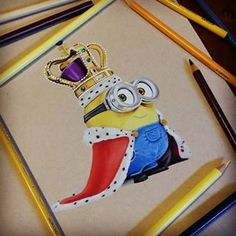 Minions KING BOB 🔱 Prismacolor on Strathmore toned tan. Drawing Art, Drawing Ideas, Minion Drawing, Wall E, Prismacolor, Pencil Drawings, Colored Pencils, Minions, Bob