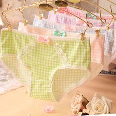 2015 Girl Series printing plaid cotton underwear women cute bow sexy lace panties Women's panties♦️ SMS - F A S H I O N 💢👉🏿 http://www.sms.hr/products/2015-girl-series-printing-plaid-cotton-underwear-women-cute-bow-sexy-lace-panties-womens-panties/ US $1.08