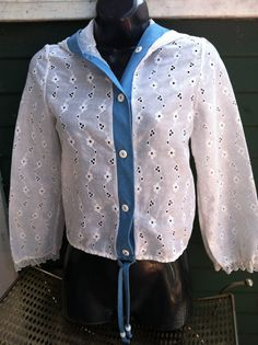 Vintage Eyelet Jacket L 14 Hoodie Shirt Top by Heidisvintageshop, $24.99