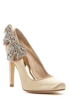 Sabrena Crystal Bow Satin Pump