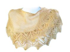 Knit lace shawl. Pale brown knit and 4mm Czech by ATLASKNITSHOP, $69.00