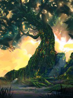 ArtStation - Swamp Tree, Samantha Lee One Image, Detailed Image, Background Images, Northern Lights, Art Prints, Orange, Landscape, Gallery, Illustration