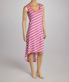 Take a look at the Pink & Gray Stripe Hi-Low Dress on #zulily today!
