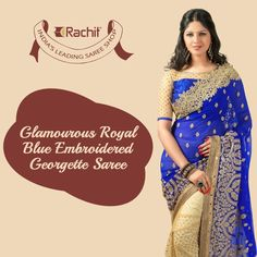 Shop Glamorous Royal Blue Embroidered Georgette Saree.