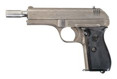 """This is a rare example of a CZ Model 27 pistol that was manufactured with a longer barrel intended for attaching a small silencer. The pistol itself is a standard late-war version marked on the left side of the slide with """"fnh Pistole Modell 27 Kal. 7,65"""" along with the serial number on the top of the slide and right of the frame. There is a small WaA76 Waffenamt mark on the right rear side of the frame and the barrel is correctly marked with a single German Eagle nitro firing proof."""