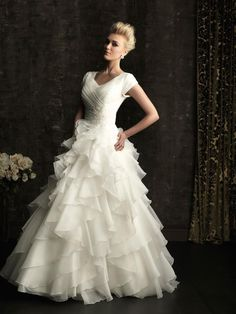 Wedding Dress Romantic Modest Ball Gown Is Created From Layers of Soft Organza