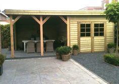 Tuinhuis met veranda IJssel 17 (afmeting 6,5 x 4 meter)  Afmetingen 6.50 m. x 4.00 m. Tuinhuis 3.00 m. x 4.00 m. met veranda van 3.50 m. x 4.00m. Hoogte ca. 2.50 m.  Uitgevoerd met een plat dak en dubbele deuren. Home Reno, Garage Doors, Barn, Lounge, Pergola, Patio, Outdoor Decor, Spa, Gardening