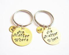 best friend keychain, moving away gift, no matter where Hand Stamped Jewelry Long Distance Graduation keychain Set of 2 initial keychain bff by RobertaValle