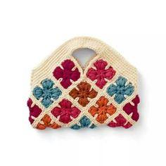 for quilt or crochet squares w/crochet trim & handles Crochet Pouch, Crochet Stitches, Crochet Patterns, Crochet Bags, Crochet Handbags, Crochet Purses, Love Crochet, Knit Crochet, Beautiful Crochet