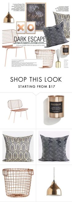 """dark escape - gray&copper living room"" by ghomecollection ❤ liked on Polyvore featuring interior, interiors, interior design, home, home decor, interior decorating, Cocolux, H&M, Tom Dixon and living room"