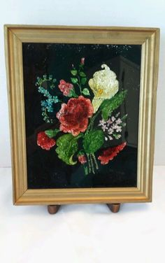 Vintage reverse glass painting with foil back estate find Glass, Pictures, Painting, Vintage, Art, Photos, Art Background, Drinkware, Corning Glass