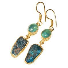 Gold-plated Earrings - Green Fluorite and Aqua Rough Cut Gemstones