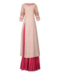 Blush Sharara Suit with Chevron Prints