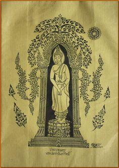 Thai traditional art of Buddha by silkscreen printing on cotton(8) via Etsy