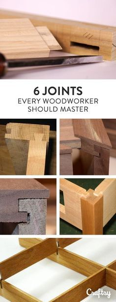 Woodworking Tips These 6 joints can be used in many projects or combined for interesting designs. Explore your options for joints here! - These 6 joints can be used in many projects or combined for interesting designs. Explore your options for joints here Woodworking For Kids, Woodworking Joints, Easy Woodworking Projects, Popular Woodworking, Woodworking Techniques, Diy Wood Projects, Teds Woodworking, Carpentry Projects, Woodworking Basics