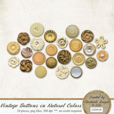 Vintage Buttons in Natural Colors