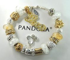 Authentic Pandora Silver Charm Bracelet with European Charms Gold love butterfly #Pandoralobsterclaspclaw #European