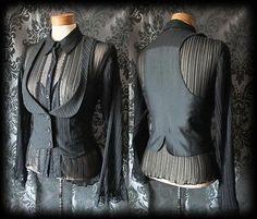 Gothic Black Pinstripe Fitted DESOLATION Corset Waistcoat 8 10 Steampunk | eBay