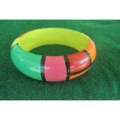 Bangle Bracelet Rainbow Mod Wood Wide Vintage Jewelry Gift ($13) via Polyvore featuring jewelry and bracelets