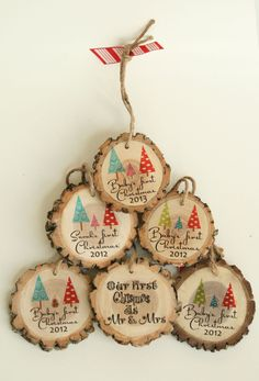 Baby's First Christmas - Daddy and Mommy Tree with Baby Pine Cone - Baby Shower Gift - Christmas Ornament.  via Etsy.
