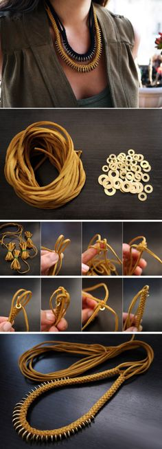Washers and cord braided necklace