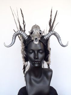 Soooo coool MADE TO ORDER Faux Feather & Skull Headpiece by MissGDesignsShop, $525.00