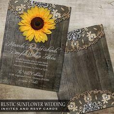 Rustic Sunflower Wedding Invitation and RSVP by OddLotEmporium