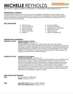 Dental Assistant Resume Example  Dental Office Resume