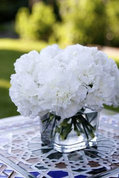 White carnations group together in boxes? Cheap! Cheap! Cheap!