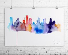 HOUSTON City Watercolor Painting - Art Print - Wall Art - skyline poster